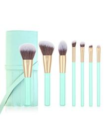 Fashion 7 Water Blue Belt Bag Wooden Handle Aluminum Tube Makeup Brush Set With Bag