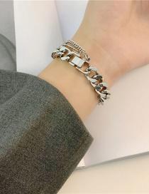 Fashion Bracelet Bold Chain Watch Buckle Wide Version Stainless Steel Necklace Bracelet