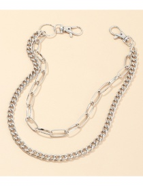 Fashion Silver Thick Chain Alloy Hollow Multi-layer Pants Chain