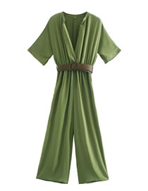 Fashion Green Stand-up Collar Belt With Solid Color Jumpsuit