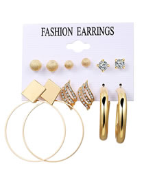 Fashion Golden Round Beads Diamonds And Geometric Stud Earrings Set