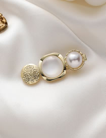 Fashion Square Section Opal Pearl Embossed Round Alloy Duckbill Clip