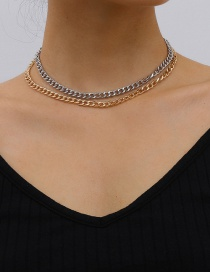 Fashion Color Mixing Alloy Contrast Color Thick Chain Multilayer Necklace