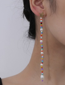 Fashion Gold Color Pearl Beaded Five-pointed Star Alloy Earrings