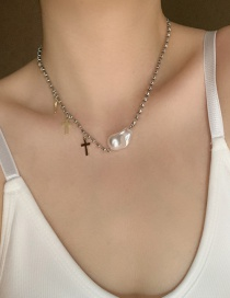 Fashion Heterosexual Pearl Special Shaped Pearl And Diamond Cross Necklace