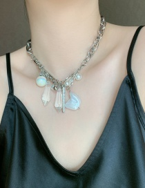 Fashion Necklace Pearl Resin Crystal Geometric Alloy Necklace