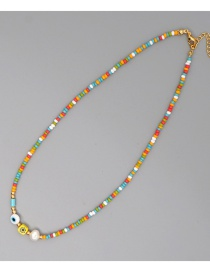 Fashion Color Mixing Rice Bead Woven Natural Pearl Geometric Necklace