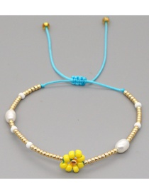 Fashion Gold Color Natural Pearl Hand-woven Rice Beads Small Daisy Bracelet