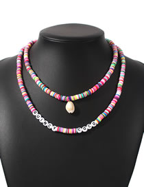 Fashion Color Multilayer Necklace With Letter Pearl Suede