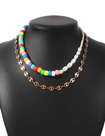Fashion Color Pearl Stitching Pig Nose Chain Alloy Multilayer Necklace