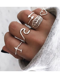 Fashion White K Feather Love Geometric Shaped Alloy Open Ring Set