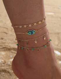 Fashion Golden Cross Chain Star Inlaid Gem Multi-layer Anklet Set