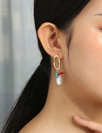 Fashion Golden Oval Hollow Natural Turquoise Coral Stone Earrings