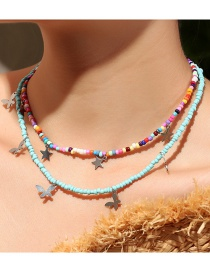 Fashion Color Mixing Rice Bead Beaded Butterfly Star Multilayer Necklace
