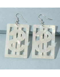 Fashion White Dollar Sign Square Acrylic Earrings