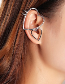 Fashion Silver Large And Small Hollow Double Love Ear Clip Without Pierced Ears