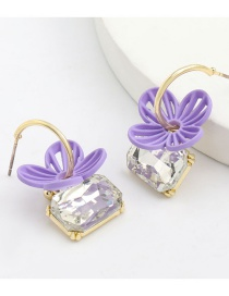 Fashion Purple Alloy Spray Paint Flower And Glass Diamond Earrings