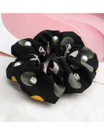Fashion Black Large Polka Dot Color Matching Diamond Pearl Large Intestine Ring Hair Rope