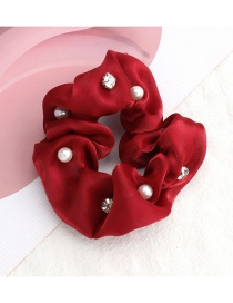 Fashion Red Pure Color Gold Silk Cloth Diamond Pearl Large Intestine Ring Hair Rope