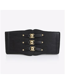 Fashion Black Elastic Super Wide Alloy Elastic Belt