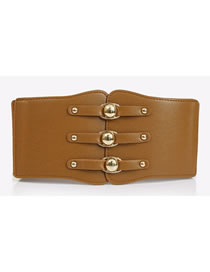 Fashion Brown Elastic Super Wide Alloy Elastic Belt