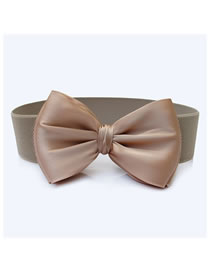 Fashion Apricot Wide Elastic Belt With Big Bow