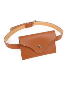 Fashion Brown Pu Belt Waist Bag Belt Buckle Belt