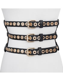 Fashion Black 3 Pin Buckle Leather Orange Adjustable Belt