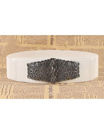 Fashion White Double Buckle Carved Elastic Elastic Wide Belt