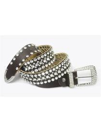 Fashion Brown Alloy Wide Belt With Diamond Belt Buckle