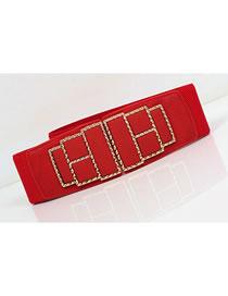 Fashion Red Alloy Geometric Double Buckle Elastic Elastic Wide Belt