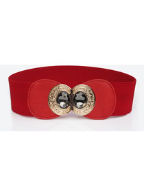 Fashion Red Double Buckle Large Rhinestone Alloy Bow Wide Girdle