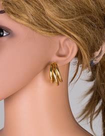 Fashion Golden Electroplated Real Gold Geometric Earrings