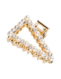 Fashion Pearls And Rhinestones Pearl And Diamond Geometric Alloy Hollow Grip