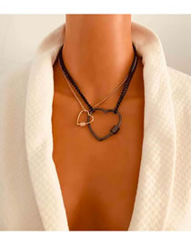 Fashion Heart-shaped Love Alloy Contrast Multi-layer Necklace