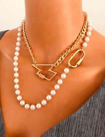 Fashion Lightning Lightning Oval Pearl Alloy Multilayer Necklace