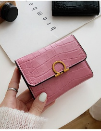 Fashion Pink Embossed Stone Pattern Lock Solid Color Wallet