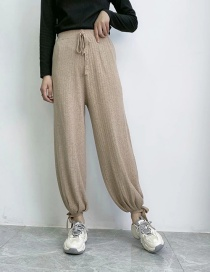 Fashion Khaki Solid Color Knit Pants With Elastic Waist