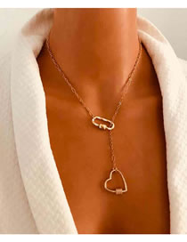 Fashion Golden Drop Oil Love Carabiner Alloy Necklace