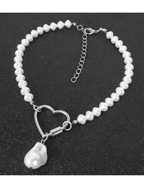 Fashion White K Peach Heart Link Buckle Pearl Bead Alloy Necklace