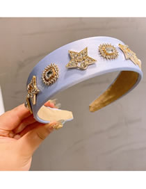 Fashion Lavender Diamond-studded Five-pointed Star Alloy Pearl Broadside Headband