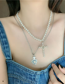 Fashion Love Section (single) Pearl Love Heart Diamond Cross Multilayer Necklace