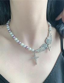 Fashion Cross Section Diamond Pearl Love Heart Cross Alloy Necklace