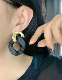 Fashion Black Chain Spray Paint Alloy Stitching Earrings