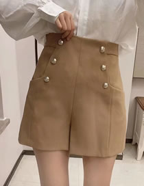 Fashion Dark Khaki Buttoned Solid Color Panel Shorts