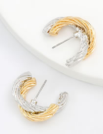Fashion Gold And Silver Double Alloy C-shaped Earrings