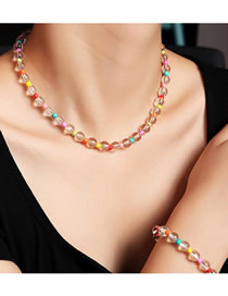 Fashion Color Mixing Transparent Round Bead Beaded Rice Bead Bracelet Necklace