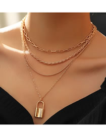 Fashion Golden Lock Shaped Alloy Multilayer Necklace