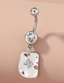 Fashion Silver Skylight Star Diamond-studded Stainless Steel Belly Button Ring