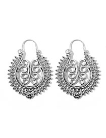 Fashion Silver Alloy Hollow Carved Round Earrings